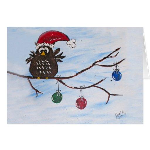 Tarjeta de Navidad del búho de Santa
