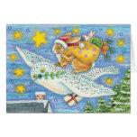 Tarjeta de Navidad del búho y del conejo - tarjeta