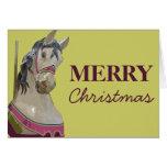 Tarjeta de Navidad del caballo del carrusel
