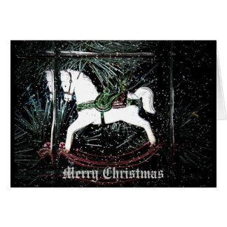 Tarjeta de Navidad del caballo mecedora
