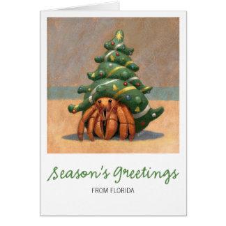 Tarjeta de Navidad del cangrejo de ermitaño