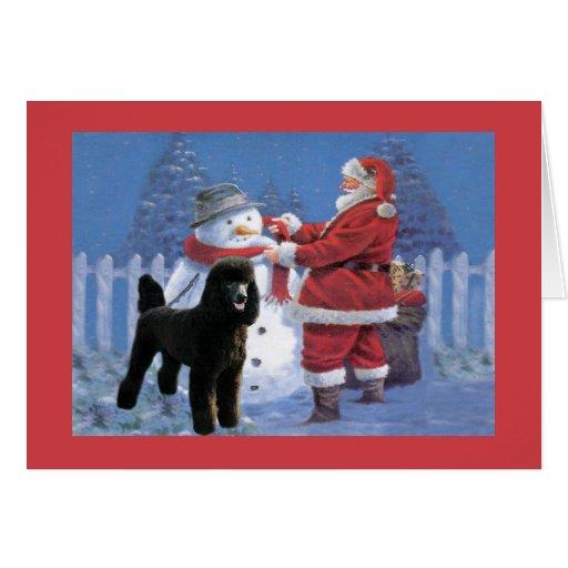 Tarjeta de Navidad del caniche Santa y muñeco de n