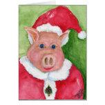 Tarjeta de Navidad del cerdo de Santa