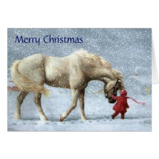 Tarjeta de Navidad del chica y del caballo