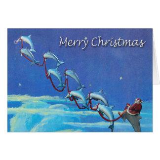 Tarjeta de Navidad del cielo nocturno de Santa y d