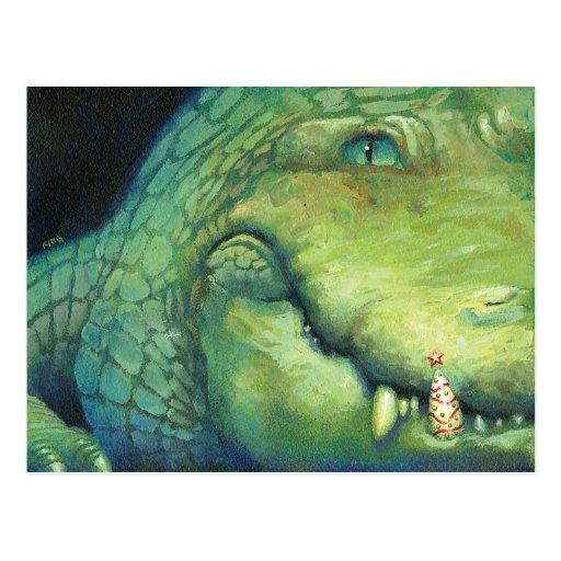 Tarjeta de Navidad del cocodrilo Postal