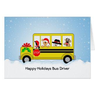 Tarjeta de Navidad del conductor del autobús escol