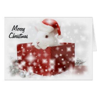 tarjeta de Navidad del conejito de santa