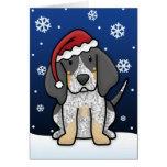 Tarjeta de Navidad del Coonhound de Kawaii Bluetic