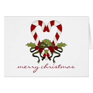 Tarjeta de Navidad del corazón del bastón de