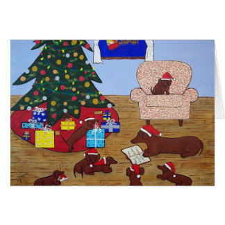 Tarjeta de Navidad del Dachshund