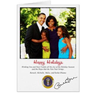 Tarjeta de Navidad del día de fiesta de Barack Oba