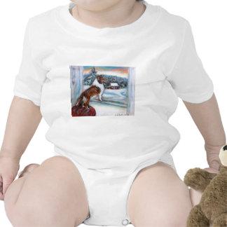 Tarjeta de Navidad del día de fiesta del perro pas Camiseta