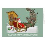 Tarjeta de Navidad del dibujo animado de la casa d