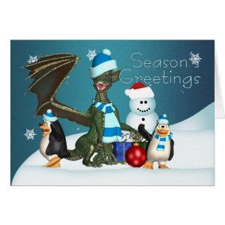 Tarjeta de Navidad del dragón y del pingüino, el s