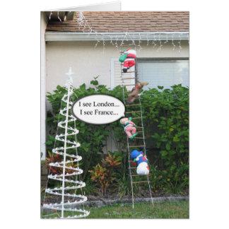 Tarjeta de Navidad del duende de la travesura