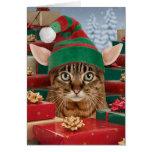 Tarjeta de Navidad del Duende-Gato de Santa