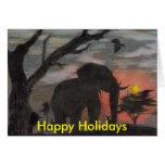 Tarjeta de Navidad del elefante de la sombra