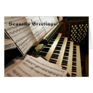 Tarjeta de Navidad del escritorio de música de órg