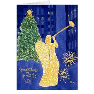 Tarjeta de Navidad del espacio en blanco del ángel
