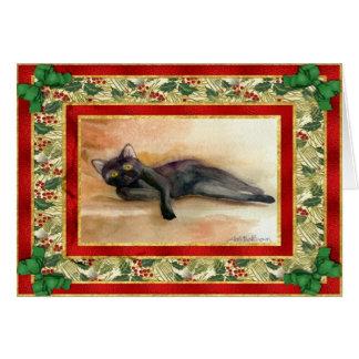 Tarjeta de Navidad del espacio en blanco del gato