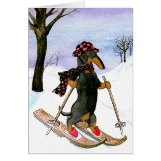 Tarjeta de Navidad del esquí del Dachshund