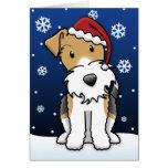 Tarjeta de Navidad del fox terrier del alambre de