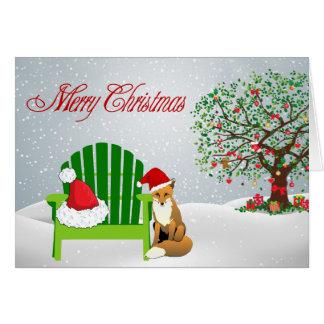 Tarjeta de Navidad del Fox y silla de playa