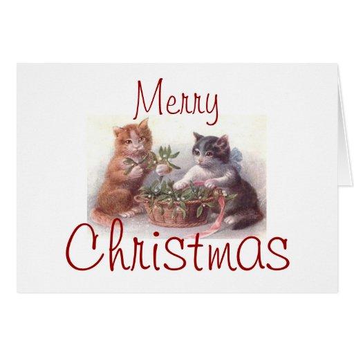 Tarjeta de Navidad del gatito del gato del vintage