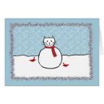 Tarjeta de Navidad del gatito del muñeco de nieve