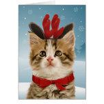 Tarjeta de Navidad del gatito del reno