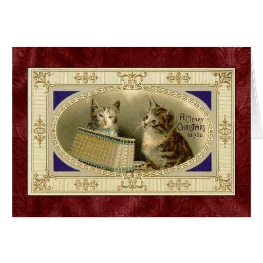 Tarjeta de Navidad del gatito del vintage