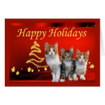 Tarjeta de Navidad del gato