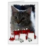Tarjeta de Navidad del gato con el gatito del Coon