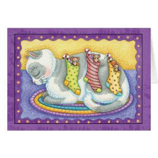 Tarjeta de Navidad del gato con los pequeños raton