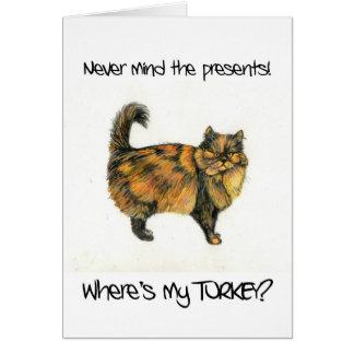 Tarjeta de Navidad del gato de Tabby de Brown