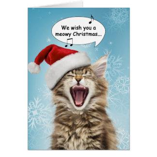 Tarjeta de Navidad del gato del canto