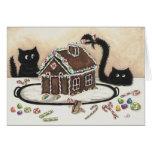 Tarjeta de Navidad del gato negro de la ojeada y d