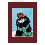 Tarjeta de Navidad del gato y del petirrojo del sm