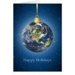 Tarjeta de Navidad del globo de la tierra