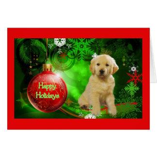 Tarjeta de Navidad del golden retriever Ball7 rojo