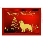 Tarjeta de Navidad del golden retriever Stars2