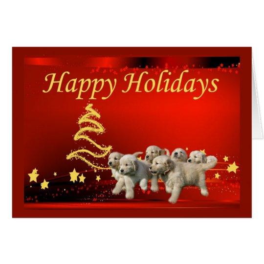 Tarjeta de Navidad del golden retriever Stars4