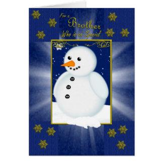 tarjeta de Navidad del hermano, azul con el muñeco