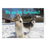 Tarjeta de Navidad del husky siberiano