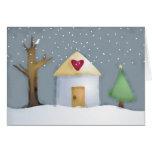 tarjeta de Navidad del jardín de la casa del amor