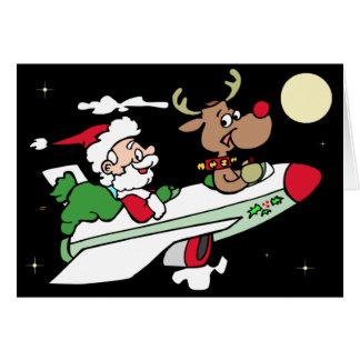 Tarjeta de Navidad del jet de Santa