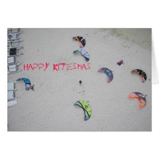 Tarjeta de Navidad del kitesurf del kiteboard de