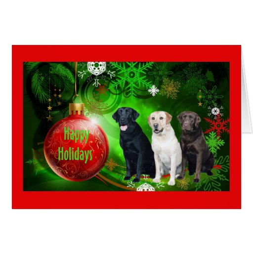 Tarjeta de Navidad del labrador retriever Ball10 r