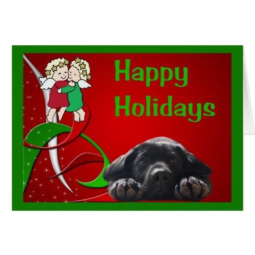 Tarjeta de Navidad del labrador retriever poco Ang